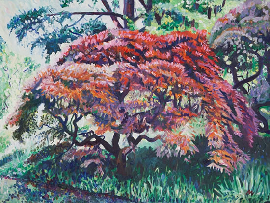 Tree at Ramster Gardens, Chiddingfold Surrey - Hampshire Artist Nicholas Walsh - Farnham Art Society