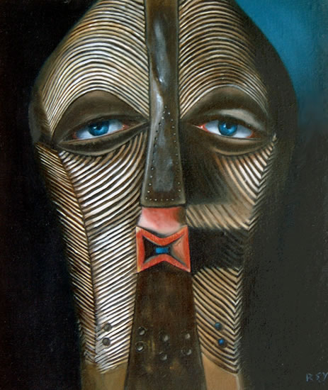 Tribal Art - Eye Contact - Romy Rey - Artist Painting Landscapes, Dreamscapes, Geometrics, Ancient and Tribal - Surrey Art Gallery