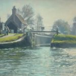 Triggs Lock, near Woking – Wey Navigation – David Deamer – Artist in Oils and Pencil Portraits – Surrey Art Gallery – Pirbright Art Club – Woking Society of Arts