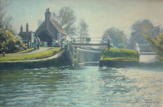 Triggs Lock, near Woking - Wey Navigation - David Deamer - Artist in Oils and Pencil Portraits - Surrey Art Gallery - Pirbright Art Club - Woking Society of Arts