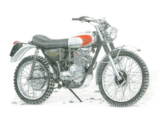 Triumph Adventurer Motorbike - Surrey Artist - Linda Brand UKCPS - Gallery - Pencil Artist