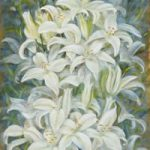 White Lillies – Flowers Gallery – Farnham Surrey Artist Michael Walsh – Society of Graphic Fine Art