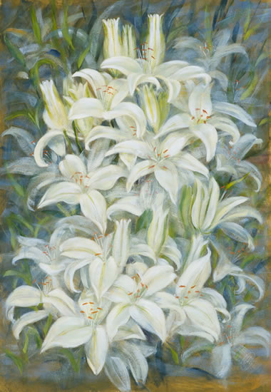 White Lillies - Flowers Gallery - Farnham Surrey Artist Michael Walsh - Society of Graphic Fine Art