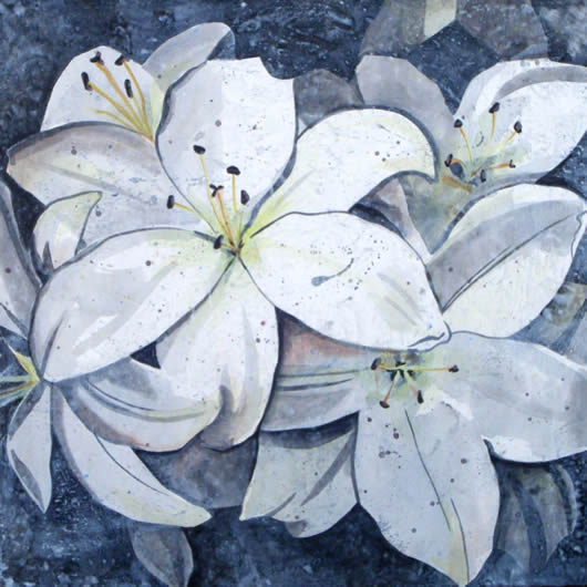 White Lilies - Flowers - Kerry Regan - Artist Painting in Acrylic and Other Media - Surrey Art Gallery