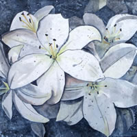 White Lilies – Flowers – Kerry Regan – Artist Painting in Acrylic and Other Media – Surrey Art Gallery
