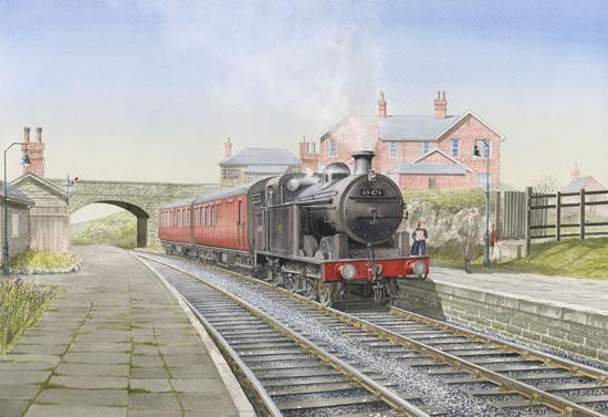Steam Train at Wilsden Station Bradford - Yorkshire Art Gallery - Artist John Healey - Woking Society of Arts