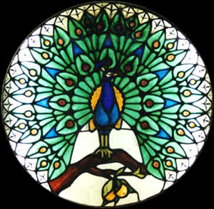 peacock stained glass black