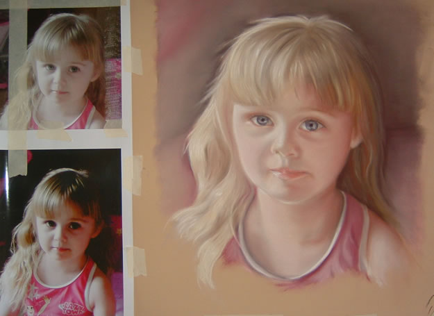 Portrait of girl with photos - commission