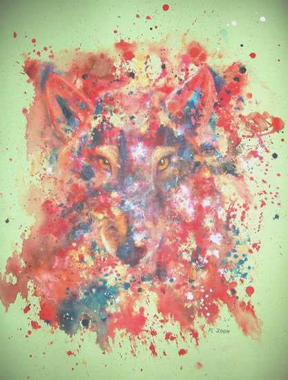Abstract Art - Wolf Within - Surrey Artist Fiona Channon - Inspired Art - Oils, Inks and Drawings