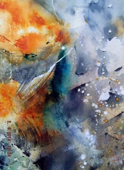Abstract, Contemporary Art - Fishpond - Surrey Artist Ingrid Skoglund - Guildford Art Society, Village Artists and West Surrey Artists Gallery