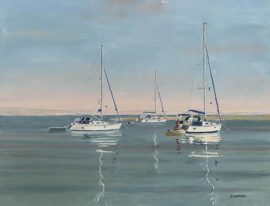 Anchored Yachts, Langstone Harbour Hampshire - David Whitson - Paintings in Oils - Woking Society of Arts - Surrey Art Gallery