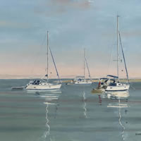 Anchored Yachts, Langstone Harbour Hampshire – David Whitson – Paintings in Oils – Woking Society of Arts – Surrey Art Gallery