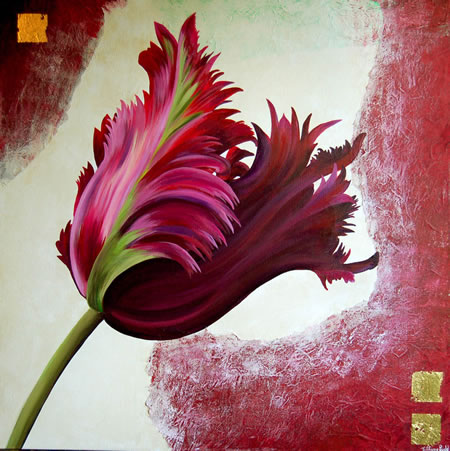 Aubergine Tulip - Tiffany Budd - Fine Artist - National Acrylic Painters Association - Surrey Artists Gallery
