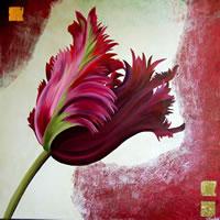 Aubergine Tulip – Tiffany Budd – Fine Artist – National Acrylic Painters Association – Surrey Artists Gallery