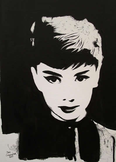 Audrey Hepburn Portrait - Surrey Artist Chris Cunningham - Portrait Artist - Commissions Invited for Paintings of Film Stars, Rock Stars, Anyone Else