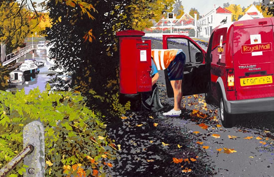 Autumn Postie - Californian Artist Barbara Caswell - Surrey Artists Gallery - Canvas Giclee Prints of Acrylic on Canvas