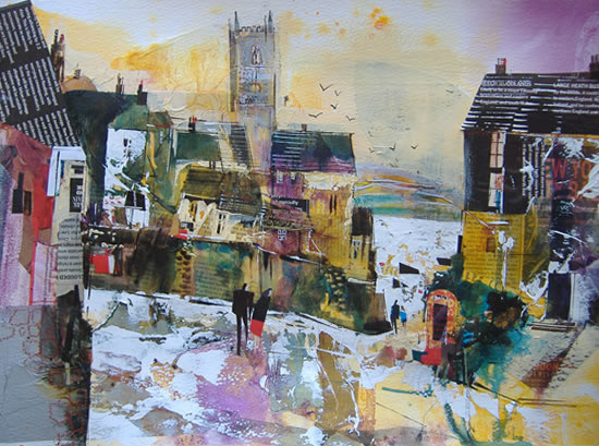 Autumn in Fowey, Cornwall - Nagib Karsan - Artist in Watercolours, Mixed Media and Collage - Dorking Group of Artists