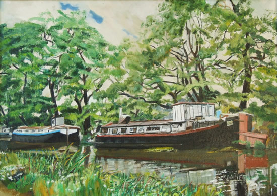 Barges - Past their Time - Rodney Thomas Annetts - Woking Society Of Arts - Surrey Artists Gallery
