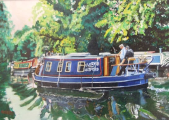 Barges - Spring Day on River Wey - Rodney Thomas Annetts - Woking Society Of Arts - Surrey Artists Gallery
