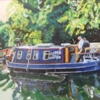 Barges – Spring Day on River Wey – Rodney Thomas Annetts – Woking Society Of Arts – Surrey Artists Gallery