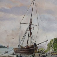 Beach – Discussing the Day's Fishing – Rodney Thomas Annetts – Woking Society Of Arts – Surrey Artists Gallery