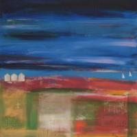 Beach Huts 1 – Hampshire Artist Jan Rippingham – Paintings in Acrylics – Surrey Art Gallery