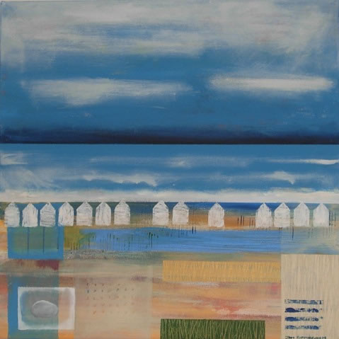 Beach Huts 2 - Hampshire Artist Jan Rippingham - Paintings in Acrylics - Surrey Art Gallery