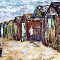 Beach Huts – Grainne Roche – Fine Artist – Byfleet Art Group – Woking Society of Arts – Surrey Art Gallery