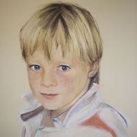 Blonde Boy in Red and White – Pencil, Charcoal and Pastel Portrait – Heidi Meadows – Surrey Art Gallery