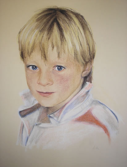 Blonde Boy in Red and White - Pencil, Charcoal and Pastel Portrait - Heidi Meadows - Surrey Art Gallery