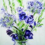 Blue Flowers – Still Life – Nerissa Davies – Puttenham Artist Painting in Watercolours – Surrey Art Gallery