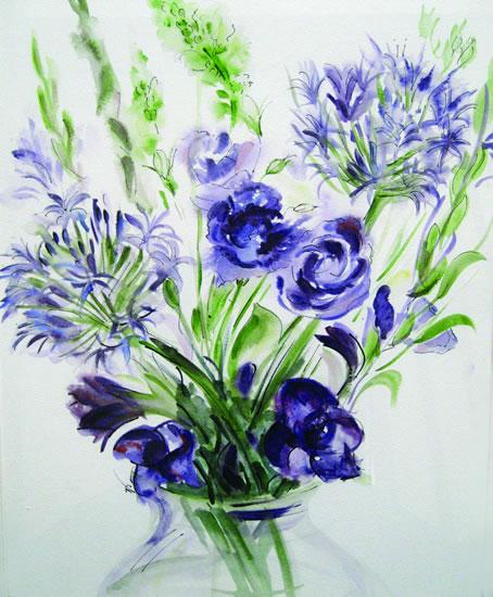 Blue Flowers - Still Life - Nerissa Davies - Puttenham Artist Painting in Watercolours - Surrey Art Gallery