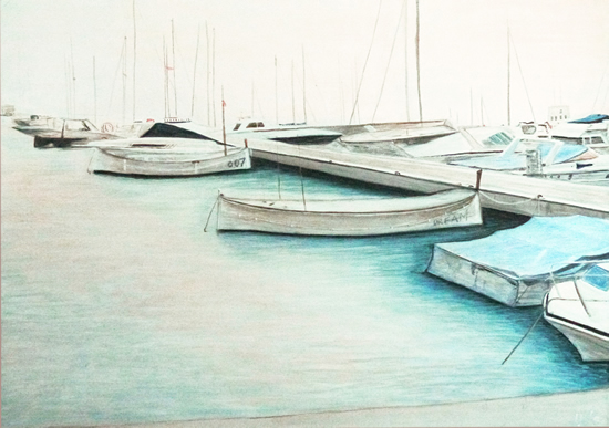 Boats - Ibitha - Surrey Artist Usha Chambore - Acrylic Paintings and Prints