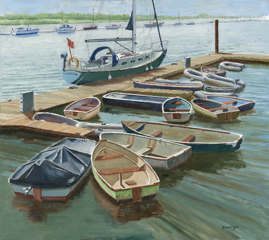 Boats at the Folly Inn, Isle of Wight - David Whitson - Paintings in Oils - Byfleet Art Group - Surrey Art Gallery