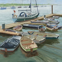 Boats at the Folly Inn, Isle of Wight – David Whitson – Paintings in Oils – Byfleet Art Group – Surrey Art Gallery