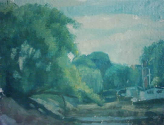 Boats in the Shade - James Carey-Wilson - Fine Art and Specialist Decorative Painting - Surrey Art Gallery