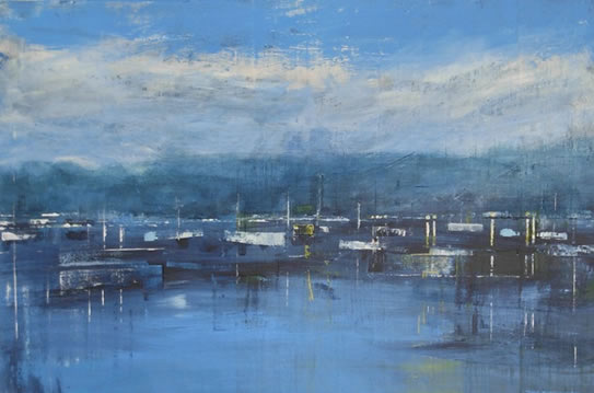 Boats on Lake Garda, Italy - Hampshire Artist Jan Rippingham - Paintings in Acrylics - Surrey Art Gallery