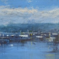 Boats on Lake Garda, Italy – Hampshire Artist Jan Rippingham – Paintings in Acrylics – Surrey Art Gallery