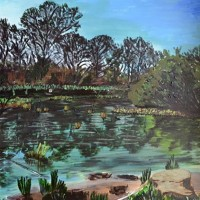 Bookham Common – Surrey Artist Ali Woolgar – Acrylic and Mixed Media – Guildford Art Society, Dorking Group of Artists and the Society of All Artists