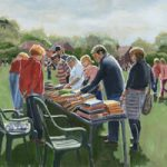 Bookstall at Littleton Fair, Hampshire – David Whitson – Paintings in Oils – Shepperton Art Group – Surrey Art Gallery