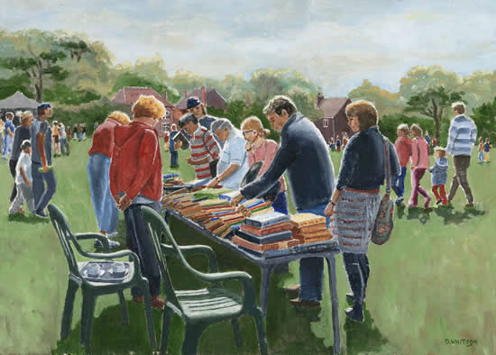 Bookstall at Littleton Fair, Hampshire - David Whitson - Paintings in Oils - Shepperton Art Group - Surrey Art Gallery