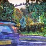 Boxhill – Car Passing – Surrey Artist Ali Woolgar – Acrylic and Mixed Media – Guildford Art Society, Dorking Group of Artists and the Society of All Artists