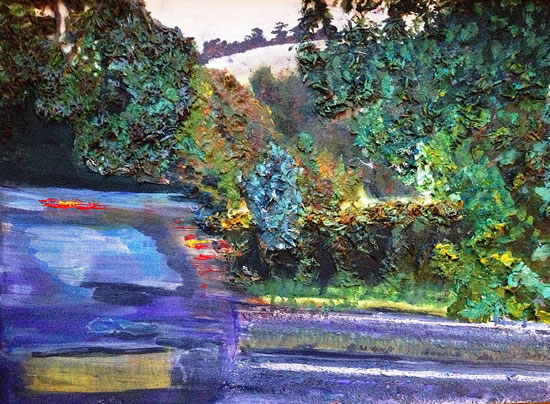 Boxhill - Car Passing - Surrey Artist Ali Woolgar - Acrylic and Mixed Media - Guildford Art Society, Dorking Group of Artists and the Society of All Artists