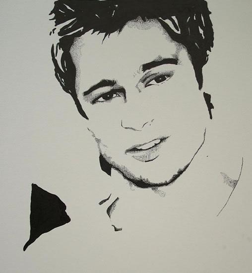 Brad Pitt Portrait - Surrey Artist Chris Cunningham - Portrait Artist - Commissions Invited for Paintings of Film Stars, Rock Stars, Anyone Else
