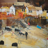 Cadgwith, Cornwall – Heading For Home – Nagib Karsan – Artist in Watercolours, Mixed Media and Collage – Guildford Art Society