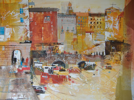Camogli, Italy - Harbour View - Nagib Karsan - Artist in Watercolours, Mixed Media and Collage - Guildford Art Society