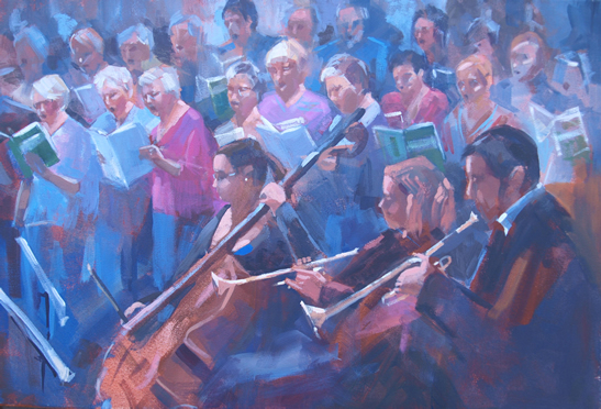 Choir and Orchestra Rehearsing The Requiem - Bracknell Choral Society - Liz Seward S.W.A. S.F.P. Professional Artist, Art Tutor and Art Society Demonstrations