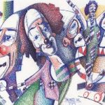 Circus Clowns – Pointillism – The Mess Vol 153 – Clown Artist – Miles Baker – Devon Gallery