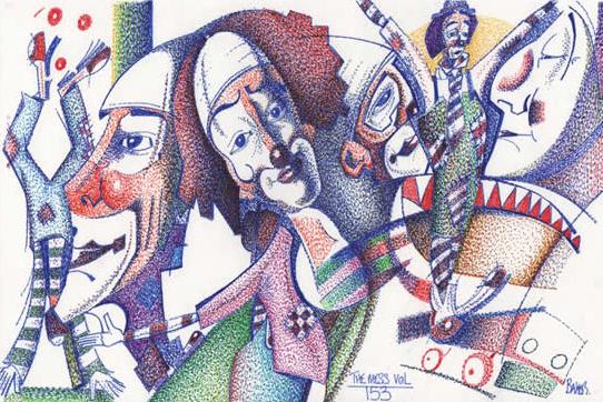Circus Clowns - Pointillism - The Mess Vol 153 - Clown Artist - Miles Baker - Devon Gallery