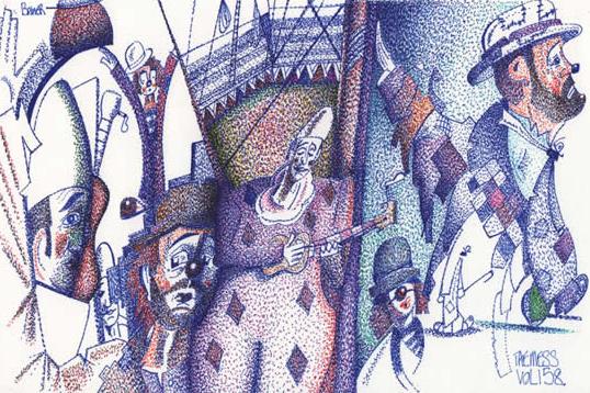 Clown Artist - Miles Baker - Pointillism - The Mess Vol 158 - Devon Gallery